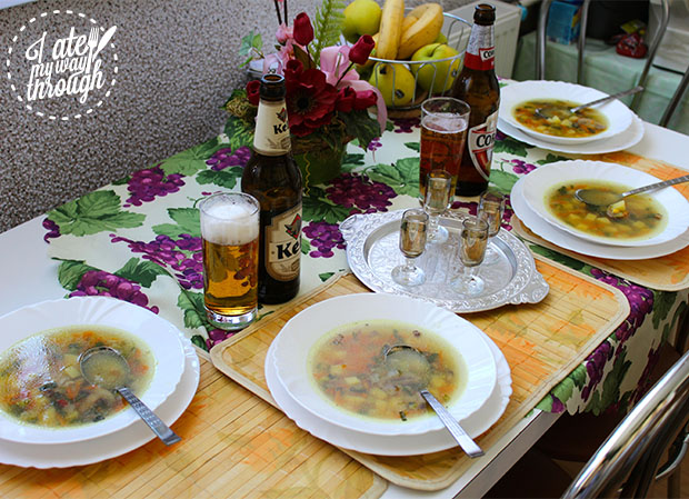 Chicken soup before dinner with Czech beer and peach schnapps.