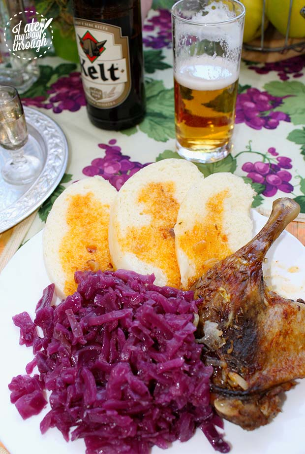 Roast duck maryland with pickled red cabbage and yeast dumplings.