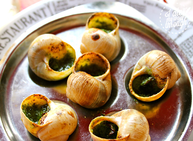 Escargots du Drapeau at Cafe Republique in Paris.