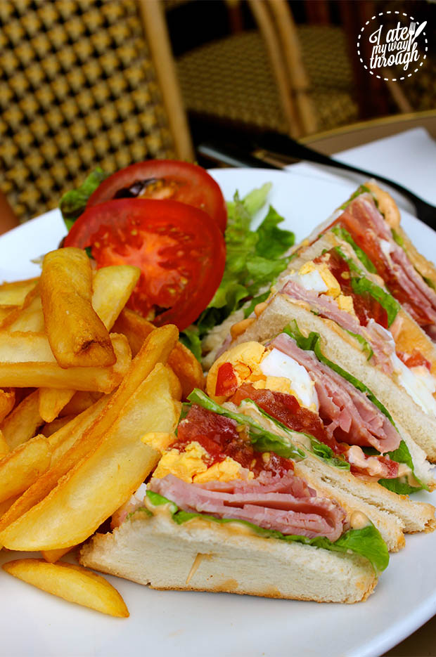 Light lunch Club Sandwich at Cafe La Contrescarpe in the Latin Quarter of old Paris.