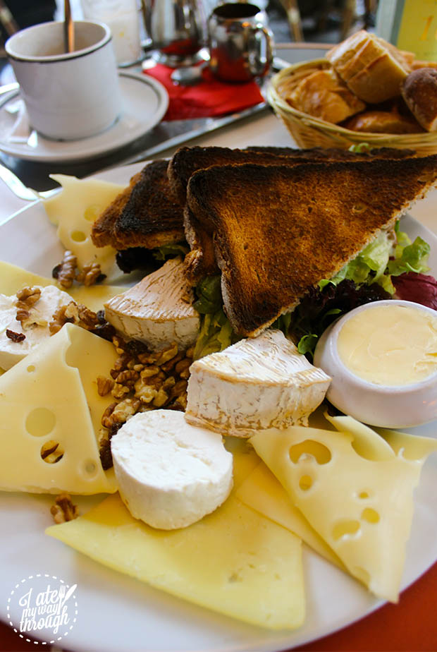 Assiette de Fromages. Plate of cheeses at a cafe in Paris.