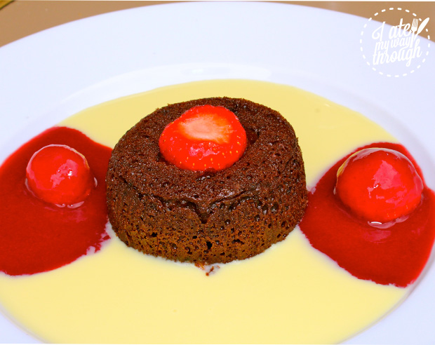 Chocolate Fondant with strawberry sorbet and white chocolate cream sauce at Cafe La Contrescarpe.