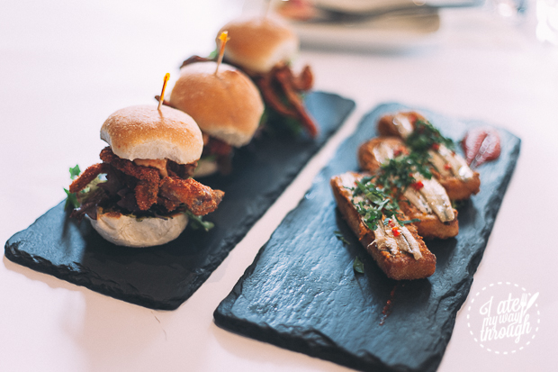 soft shell crab sliders and fish fingers - barrafina tapas