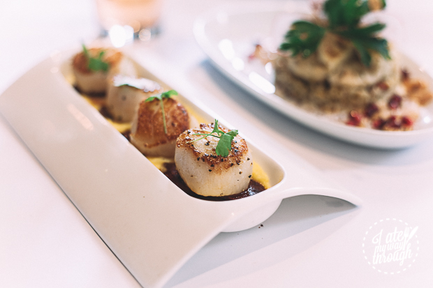 pan-seared scallops with chorizo and sweet corn puree