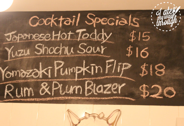 The cocktail Specials board is changed daily to suit the weather and available ingredients.
