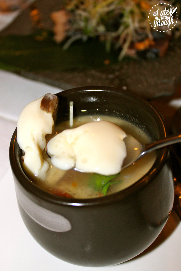 Chawanmushi, a traditional  Japanese dish comprised of egg custard, prawn, chicken, ginkgo nuts and dashi.