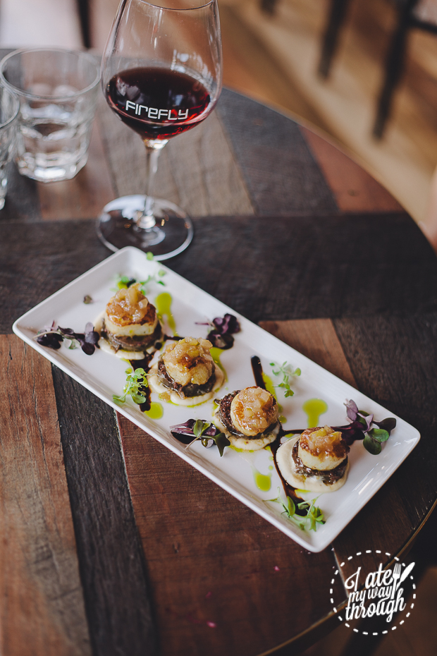 Firefly Canadian Seared Scallops - Cauliflower Puree, Morcilla, Pickled Pear