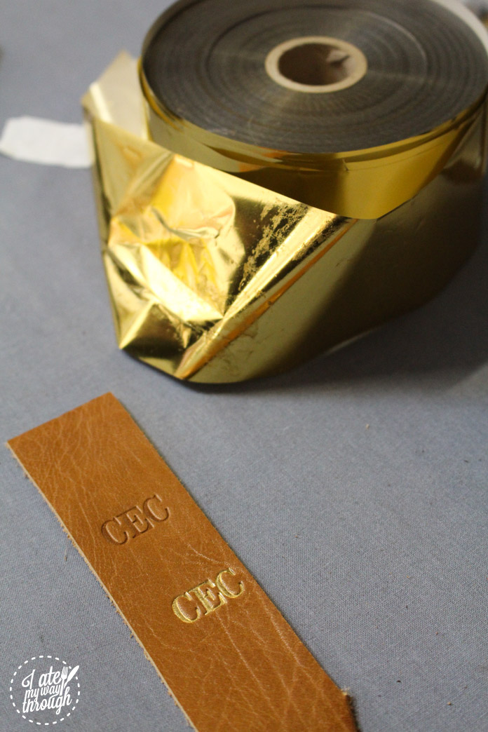 Gold foil embossed initials at GGUP