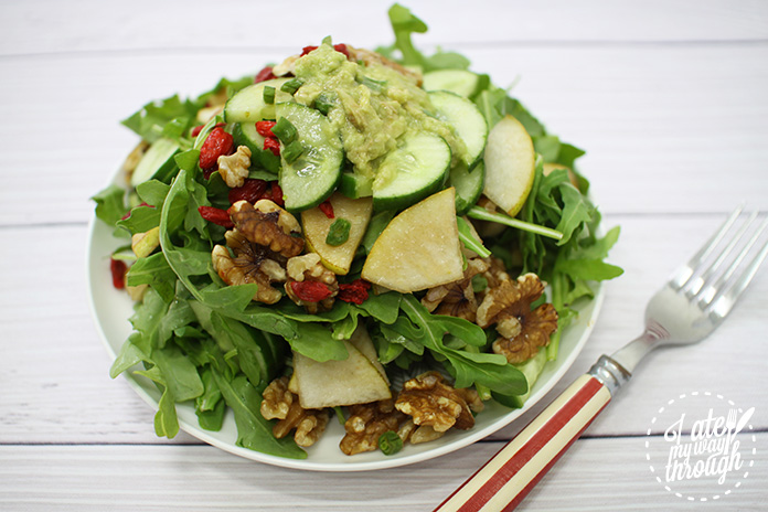 Pear and Rocket Waldorf - pear, rocket, green beans, walnuts, cucumber, goji berries, avocado, lemon juices, olive oil