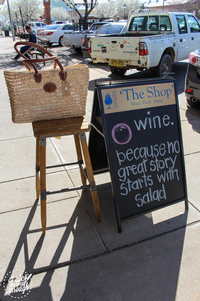Sign and display outside The Shop
