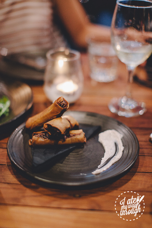 duck cigars with sumac yoghurt, the wolf wine bar, sydney CBD, duck, spring rolls