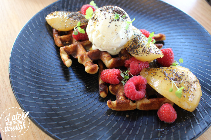 Buckwheat Waffles ($16) Tasted as beautiful as it looked