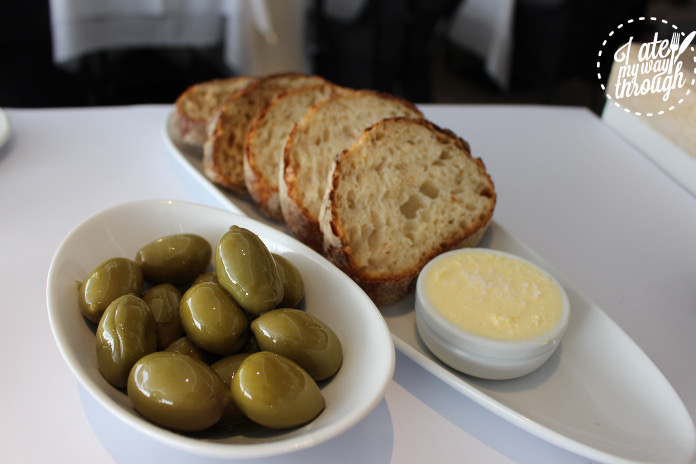 Bread and olives, an optional extra to the set lunch menu, but an absolute must