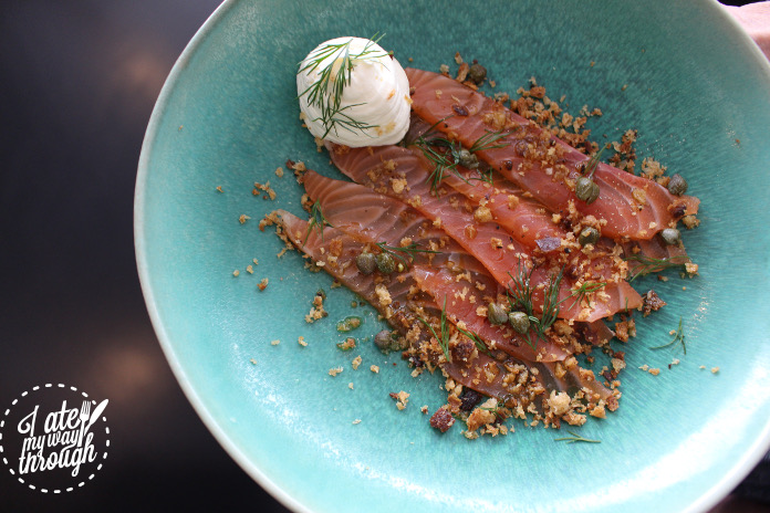 Smoked salmon, capers, rye bread crumbs, sour cream cheese and dill