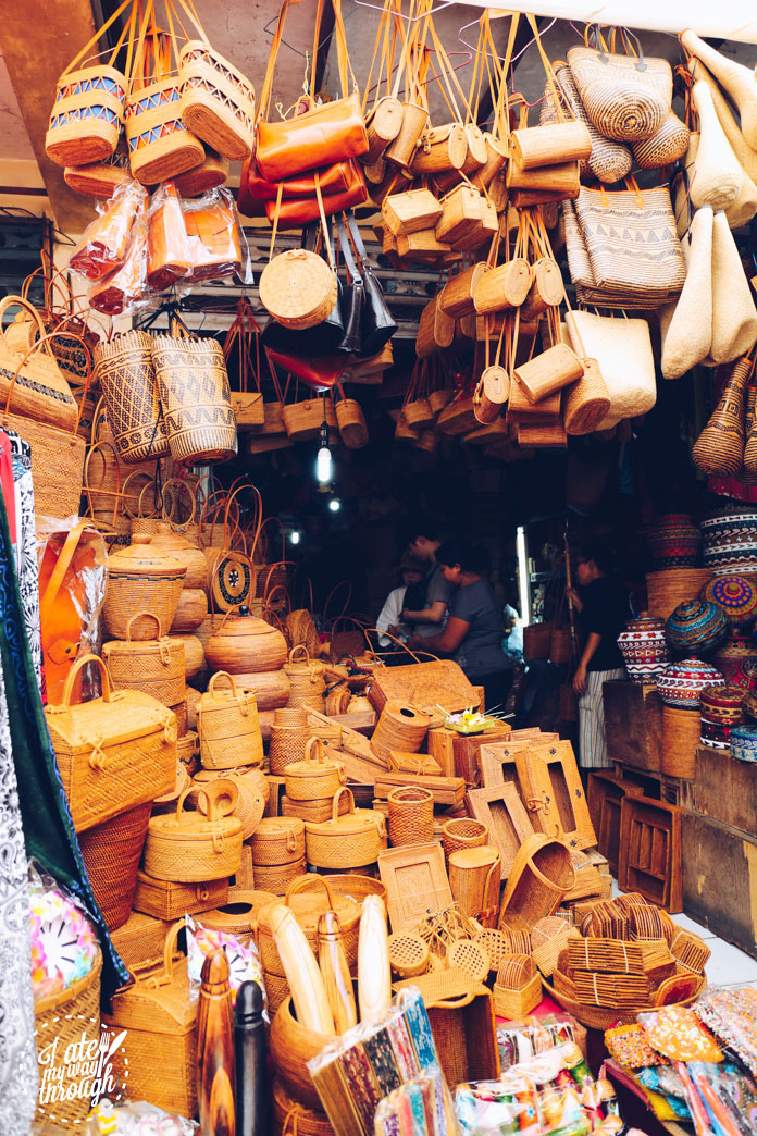 Handwoven bags and baskets at Ubud Art Market