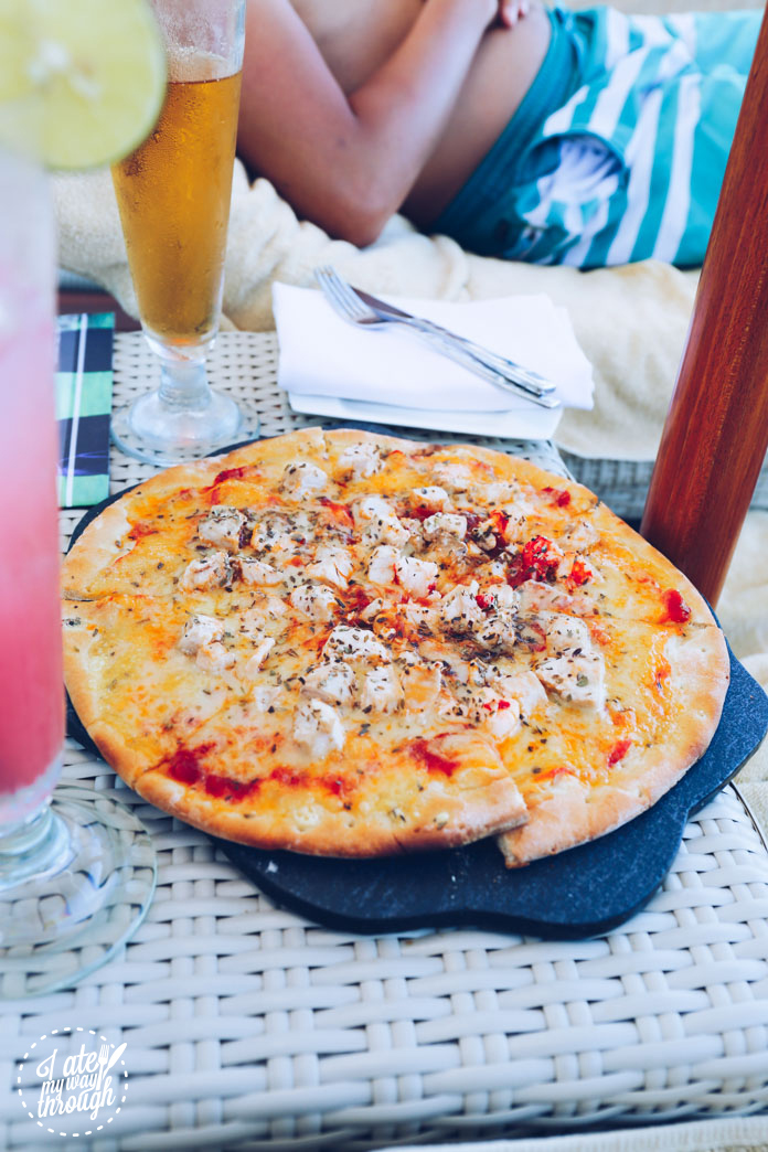 Seafood pizza at the Pool Bar