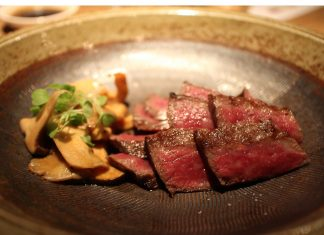 tajima 9+ wagyu striploin, served with assorted mushrooms
