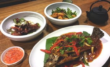 Meals from Upperroom Resto Cafe including whole barramundi, sweet and sour pork and the salt and pepper tofu