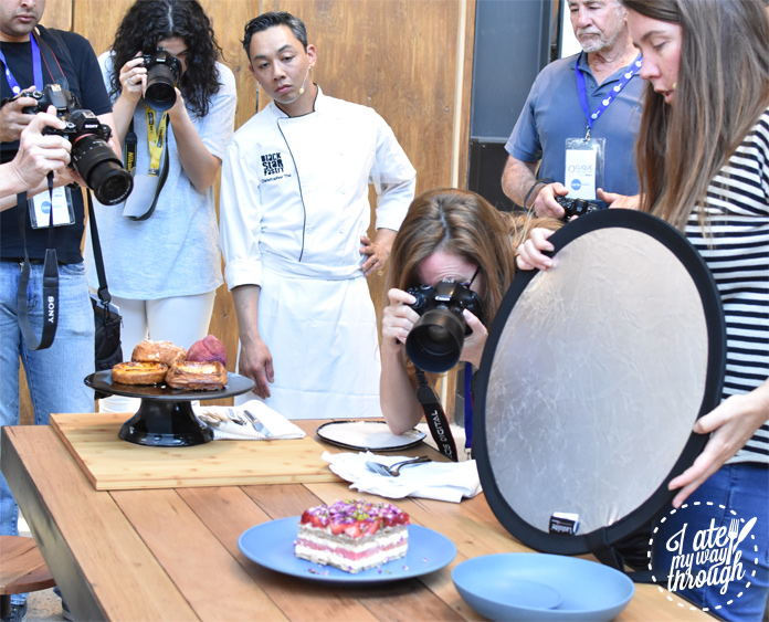 BlackStar Pastry's Christopher Thé watching Edwina Pickles lead a Nikon food photography workshop