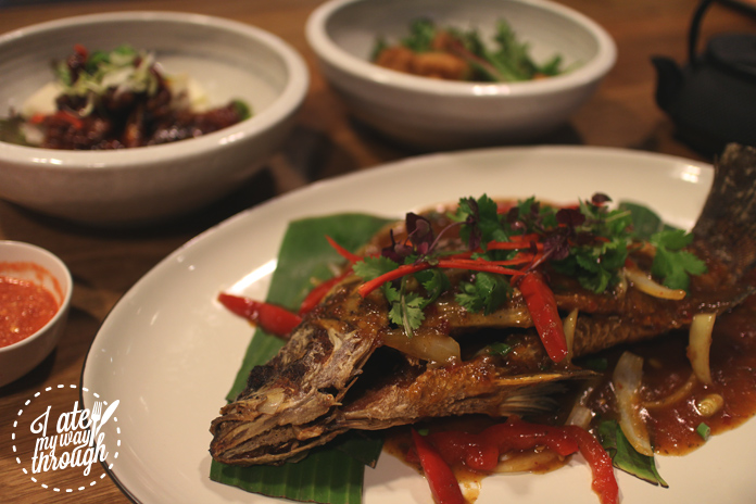 Close up of Upperroom Resto Cafe's whole barramundi with sambal sauce