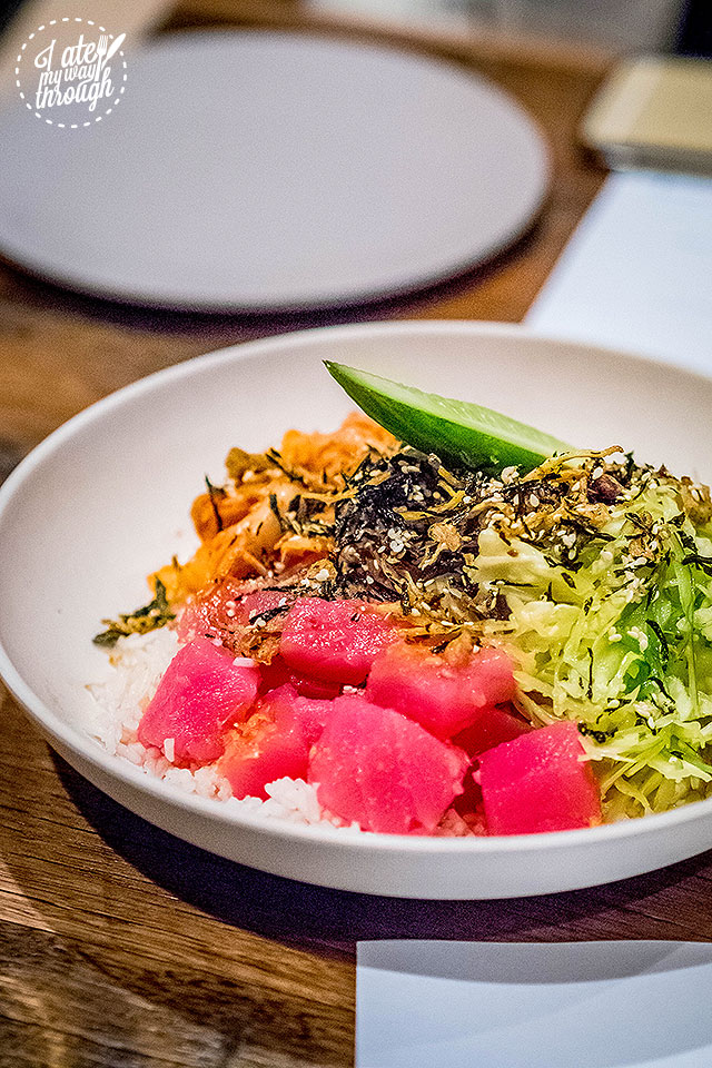 Tuna Poke - Raw Cubed Tuna in a Chilli and Lemongrass Dressing served with Kimchi and Seaweed Salad on Coconut Rice
