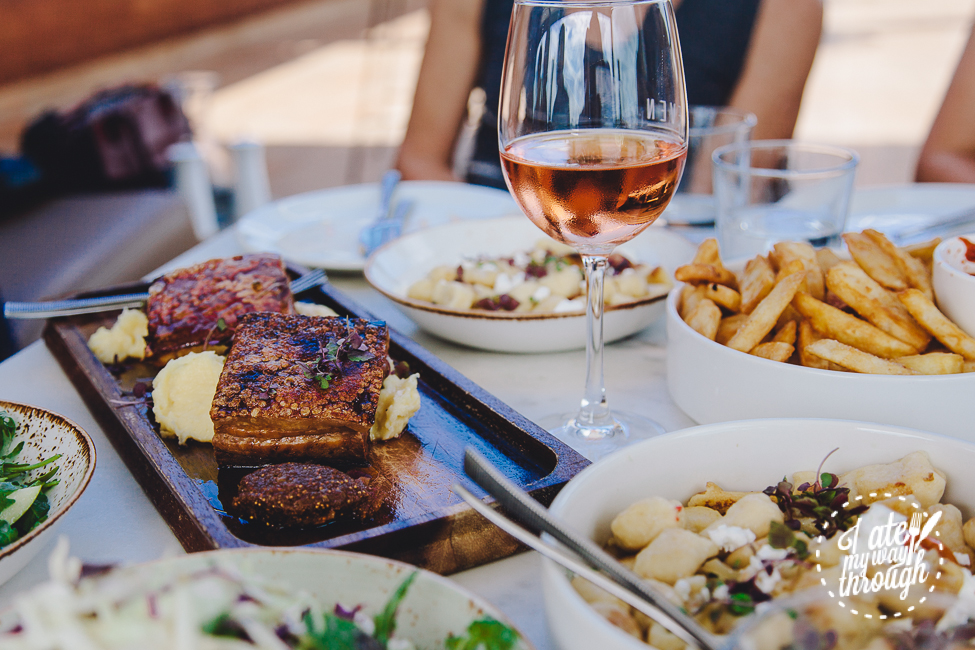 Eleven Rooftop Bar, Fortitude Valley, decor, airtrain, airtrain QLD, interior decor, restaurant, flatlay, pan seared market fish, gnocchi, twice cooked pork belly