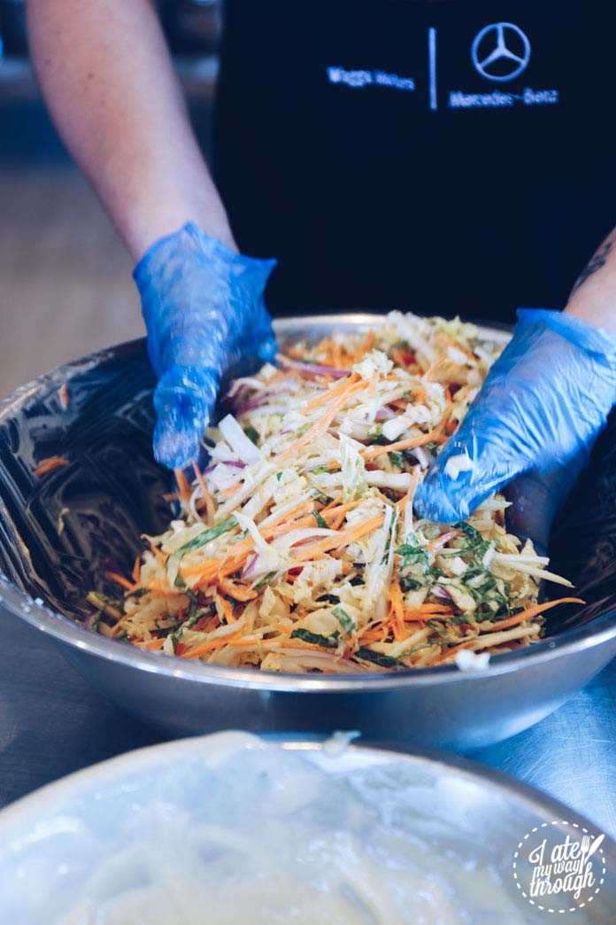 Tossing our Asian slaw