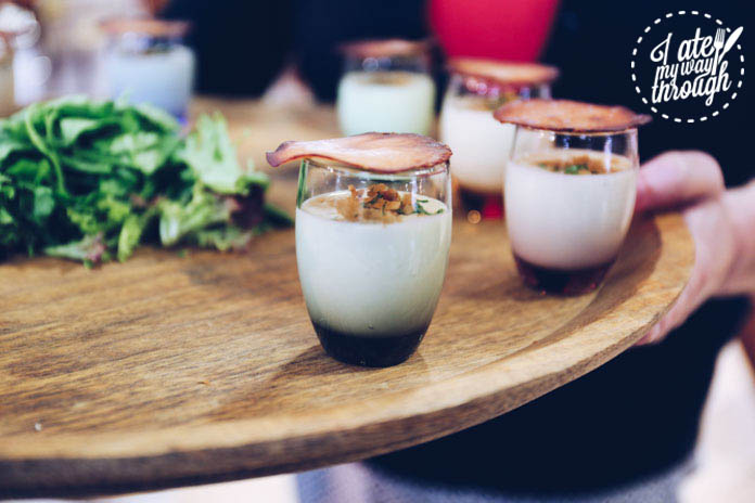 Pancetta shot with white chocolate vichyssoise and toasted chicken