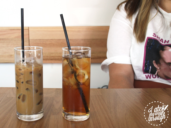 Lemongrass iced tea and Vietnamese Iced coffee