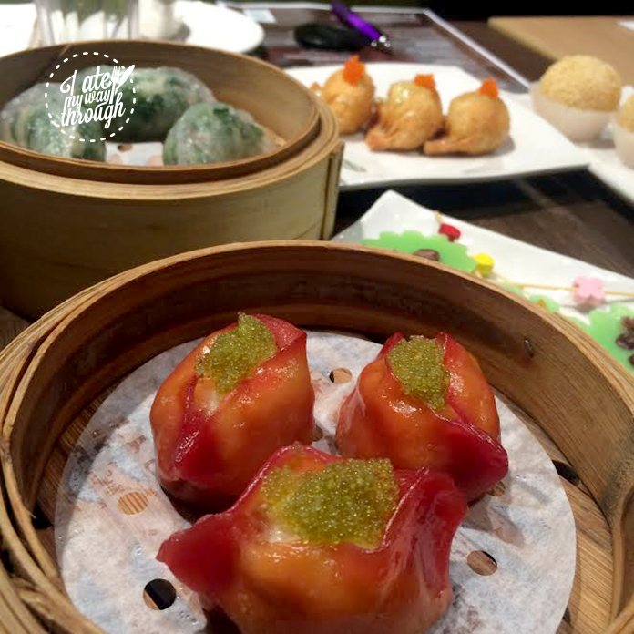 Beetroot-infused prawn dumplings with tobiko
