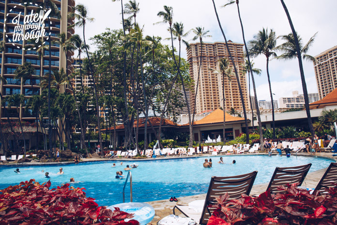 One of five pools at Hilton Hawaiian Village