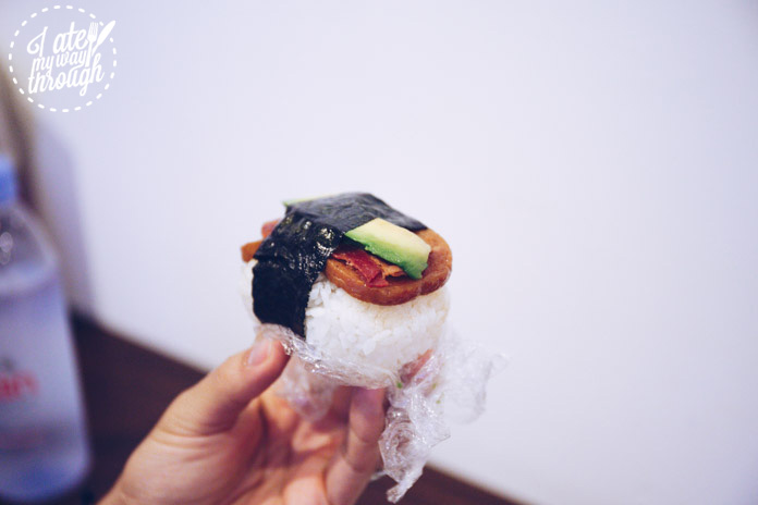 Avocado, bacon, spam musubi