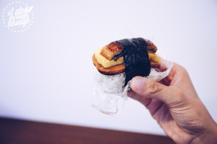 Eel, egg & Spam musubi