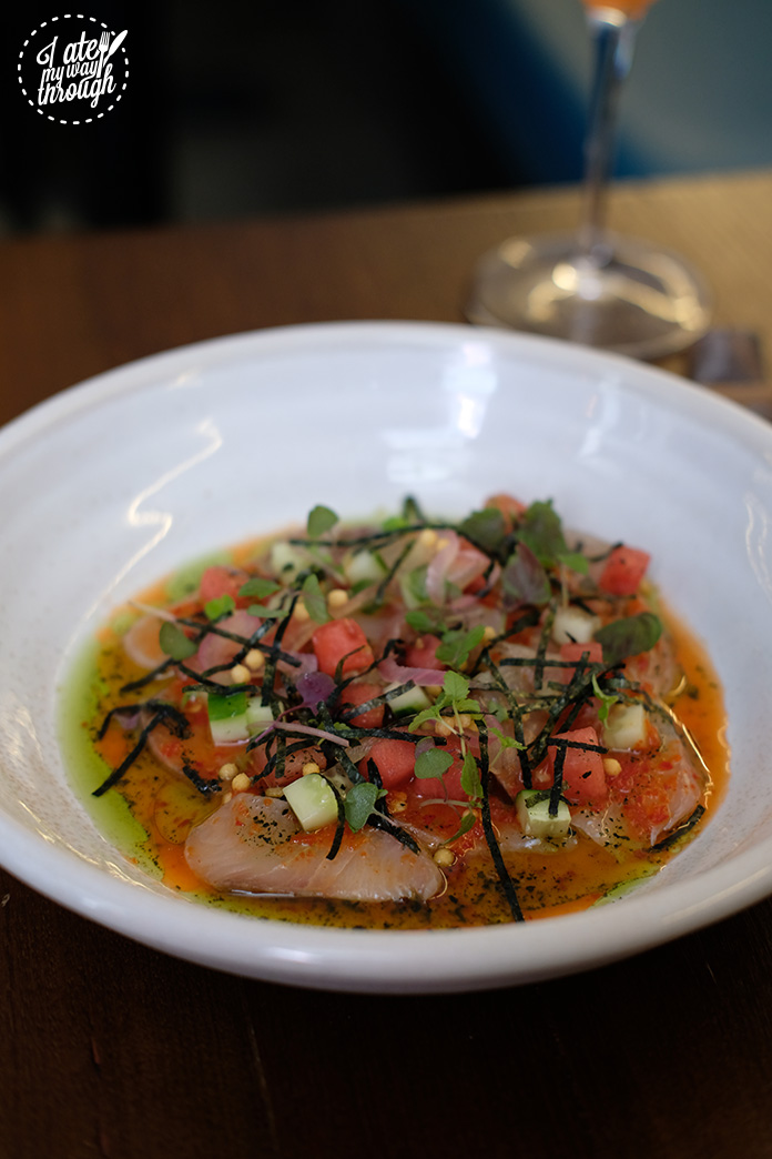 Kingfish ceviche, pickled watermelon, lemon aspen & roast wakame kosho $22